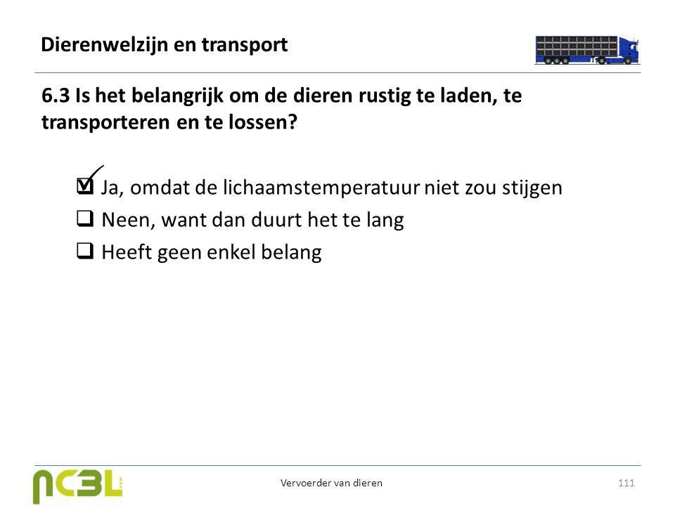 Dierenwelzijn en transport 6.3 Is het belangrijk om de dieren rustig te laden, te transporteren en te lossen?  Ja, omdat de lichaamstemperatuur niet