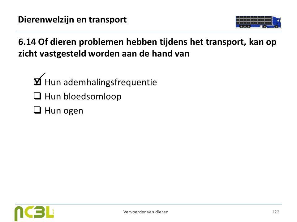 Dierenwelzijn en transport 6.14 Of dieren problemen hebben tijdens het transport, kan op zicht vastgesteld worden aan de hand van  Hun ademhalingsfre