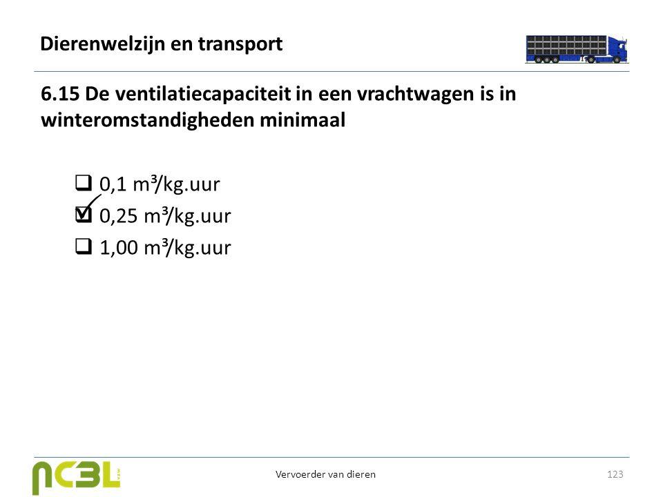 Dierenwelzijn en transport 6.15 De ventilatiecapaciteit in een vrachtwagen is in winteromstandigheden minimaal  0,1 m³/kg.uur  0,25 m³/kg.uur  1,00