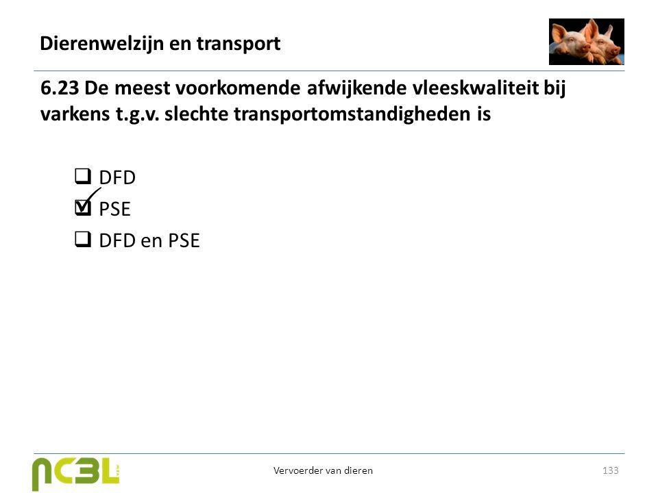 Dierenwelzijn en transport 6.23 De meest voorkomende afwijkende vleeskwaliteit bij varkens t.g.v. slechte transportomstandigheden is  DFD  PSE  DFD