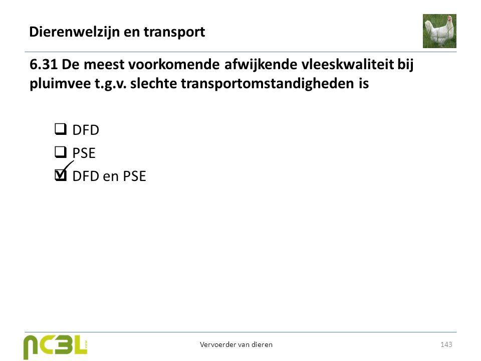 Dierenwelzijn en transport 6.31 De meest voorkomende afwijkende vleeskwaliteit bij pluimvee t.g.v. slechte transportomstandigheden is  DFD  PSE  DF