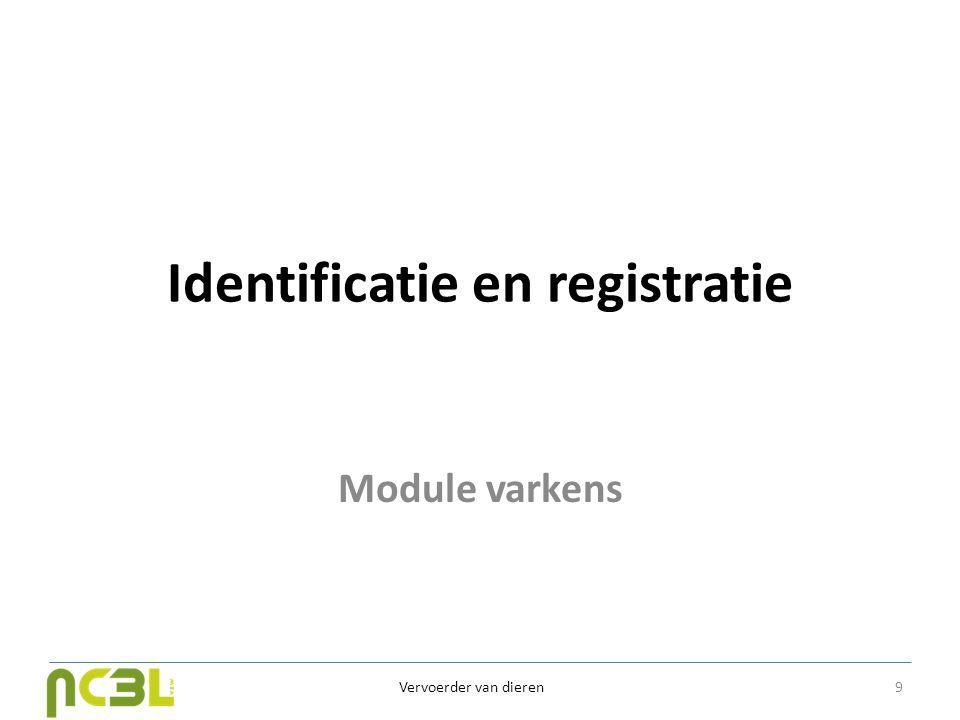 Identificatie en registratie Module varkens Vervoerder van dieren 9