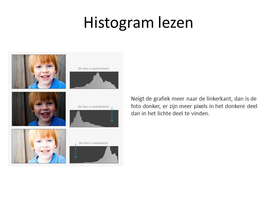 Histogram lezen Neigt de grafiek meer naar de linkerkant, dan is de foto donker, er zijn meer pixels in het donkere deel dan in het lichte deel te vin