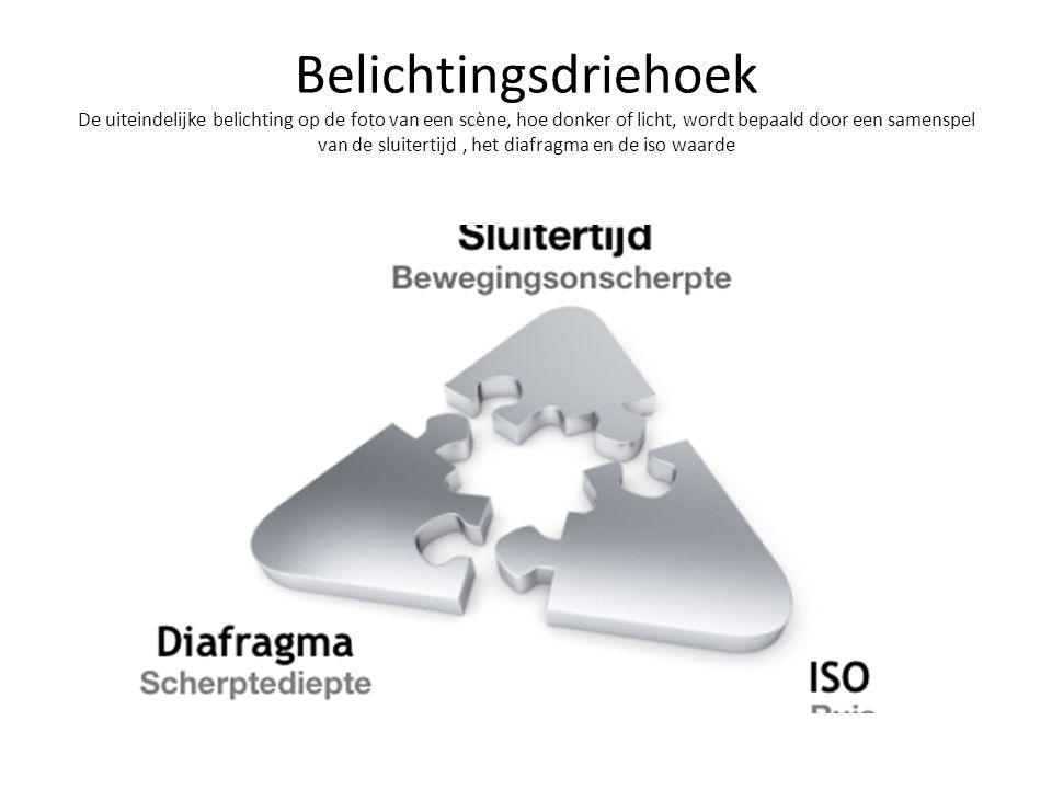 belichtingsdriehoek Diafragma: bepaalt hoeveel licht er op de sensor valt, Hoe groter het getal achter f/, hoe kleiner de diafragma opening en hoe minder licht de sensor kan bereiken.
