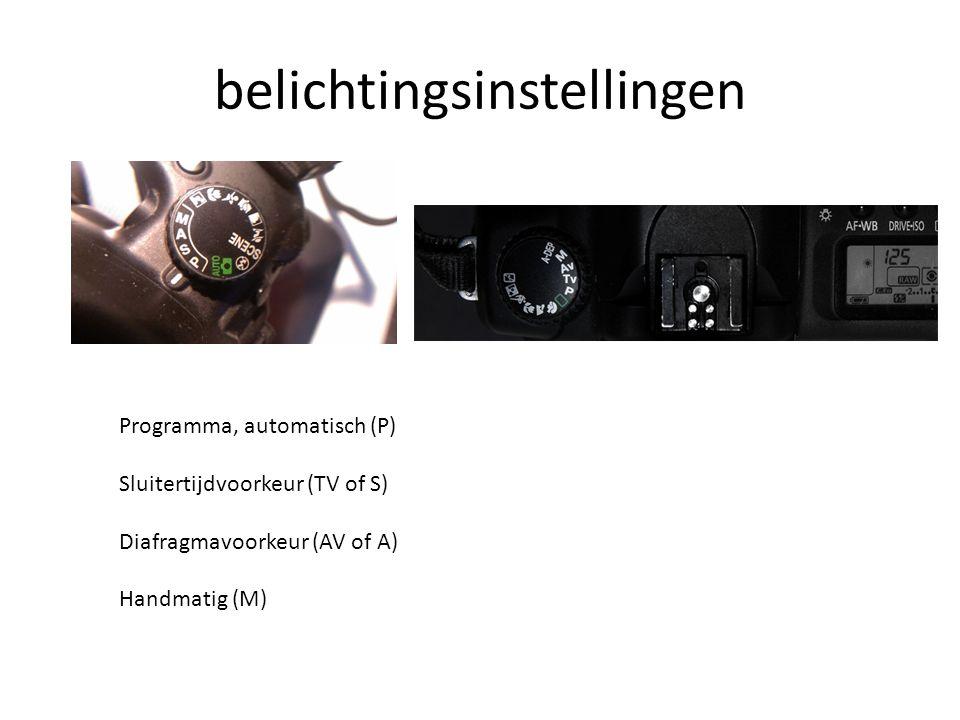 belichtingsinstellingen Programma, automatisch (P) Sluitertijdvoorkeur (TV of S) Diafragmavoorkeur (AV of A) Handmatig (M)