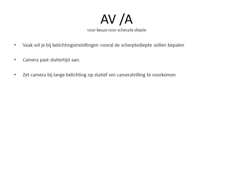 AV /A voor keuze voor scherpte diepte Vaak wil je bij belichtingsinstellingen vooral de scherptediepte willen bepalen Camera past sluitertijd aan. Zet