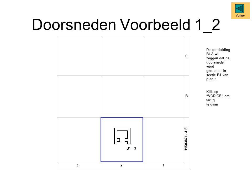 Doorsneden Voorbeeld 1_2 C B 321 115A3871- 4 E B1 - 3 Vorige De aanduiding B1-3 wil zeggen dat de doorsnede werd genomen in sectie B1 van plan 3.