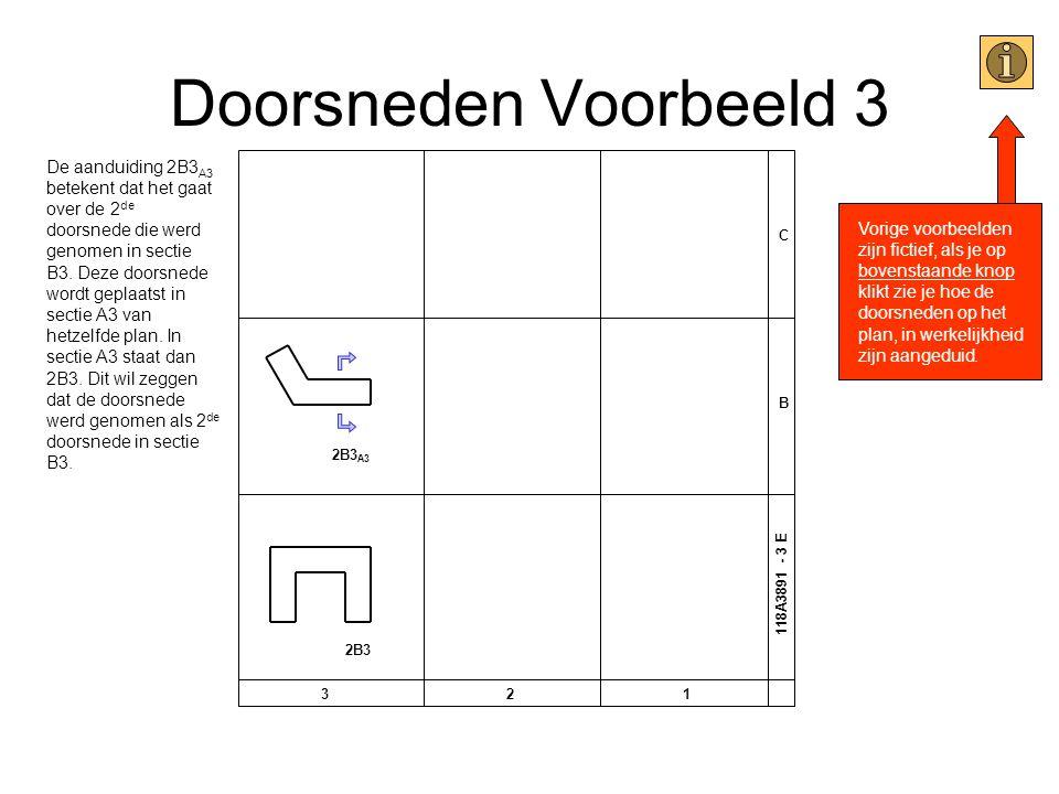 Doorsneden Voorbeeld 3 C B 321 118A3891 - 3 E 2B3 A3 2B3 De aanduiding 2B3 A3 betekent dat het gaat over de 2 de doorsnede die werd genomen in sectie