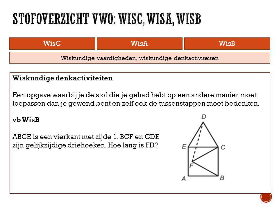 WisCWisAWisB Wiskundige vaardigheden, wiskundige denkactiviteiten Wiskundige denkactiviteiten Een opgave waarbij je de stof die je gehad hebt op een a