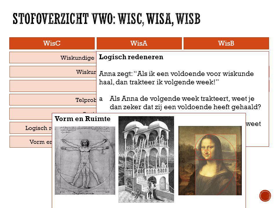 WisCWisAWisB Telproblemen Statistiek Logisch redeneren Vorm en Ruimte Wiskundige vaardigheden, rekenen, algebra Wiskundige vaardigheden, wiskundige de