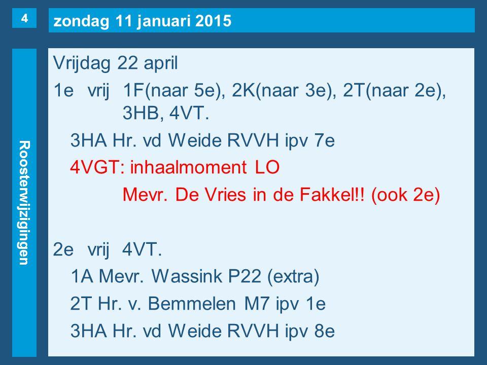 zondag 11 januari 2015 Roosterwijzigingen Vrijdag 22 april 1evrij1F(naar 5e), 2K(naar 3e), 2T(naar 2e), 3HB, 4VT.