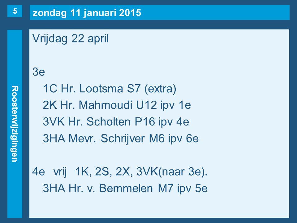 zondag 11 januari 2015 Roosterwijzigingen Vrijdag 22 april 5evrij1L, 3HA(naar 4e), 4VT.