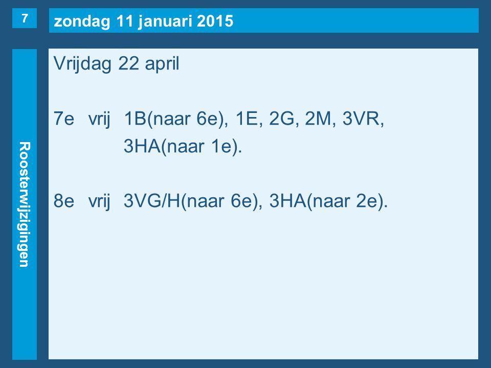 zondag 11 januari 2015 Roosterwijzigingen Vrijdag 22 april 7evrij1B(naar 6e), 1E, 2G, 2M, 3VR, 3HA(naar 1e).