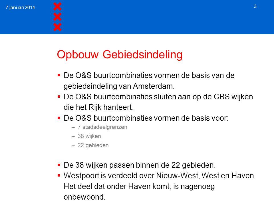 Opbouw Gebiedsindeling  De O&S buurtcombinaties vormen de basis van de gebiedsindeling van Amsterdam.  De O&S buurtcombinaties sluiten aan op de CBS