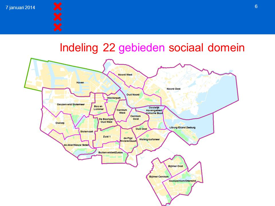 7 januari 2014 6 Indeling 22 gebieden sociaal domein