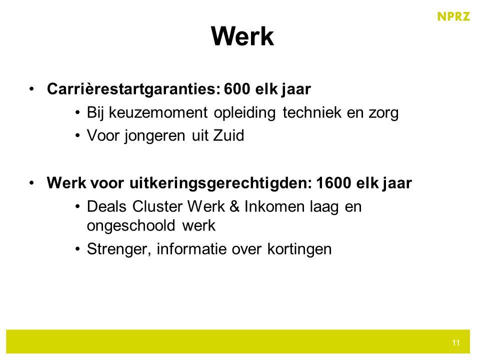 Carrièrestartgaranties: 600 elk jaar Bij keuzemoment opleiding techniek en zorg Voor jongeren uit Zuid Werk voor uitkeringsgerechtigden: 1600 elk jaar