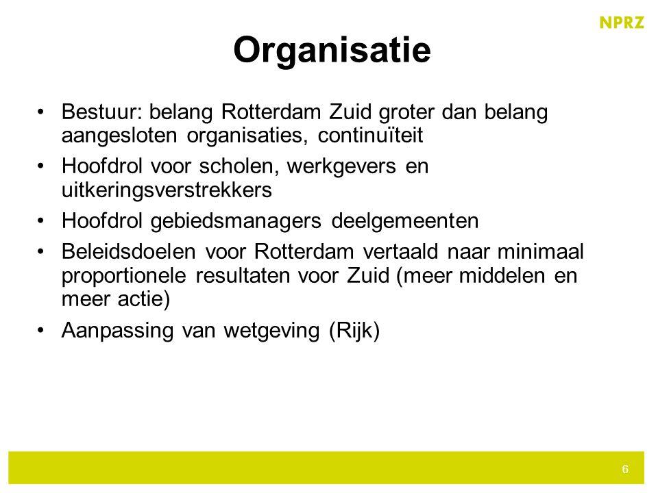 Bestuur: belang Rotterdam Zuid groter dan belang aangesloten organisaties, continuïteit Hoofdrol voor scholen, werkgevers en uitkeringsverstrekkers Ho
