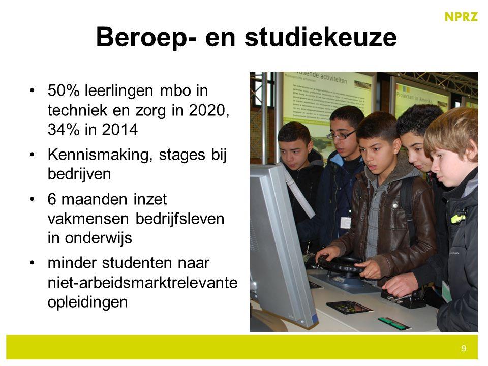 50% leerlingen mbo in techniek en zorg in 2020, 34% in 2014 Kennismaking, stages bij bedrijven 6 maanden inzet vakmensen bedrijfsleven in onderwijs mi