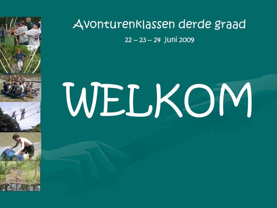 Avonturenklassen derde graad 22 – 23 – 24 juni 2009 WELKOM