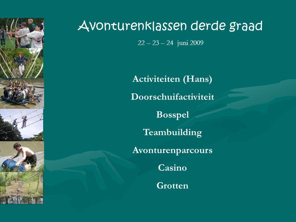 Activiteiten (Hans) Doorschuifactiviteit Bosspel Teambuilding Avonturenparcours Casino Grotten Avonturenklassen derde graad 22 – 23 – 24 juni 2009