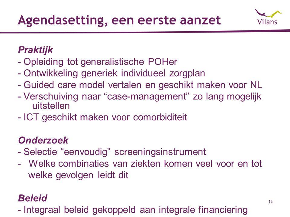 12 Agendasetting, een eerste aanzet Praktijk - Opleiding tot generalistische POHer - Ontwikkeling generiek individueel zorgplan - Guided care model ve