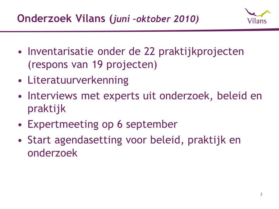 2 Onderzoek Vilans ( juni –oktober 2010) Inventarisatie onder de 22 praktijkprojecten (respons van 19 projecten) Literatuurverkenning Interviews met e