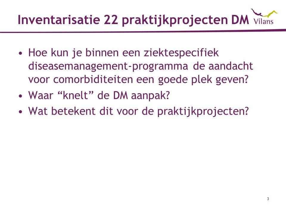 4 Inventarisatie 22 praktijkprojecten DM Conclusies (1) Geen systematische aandacht aan comorbiditeit, focus op één ziekte.