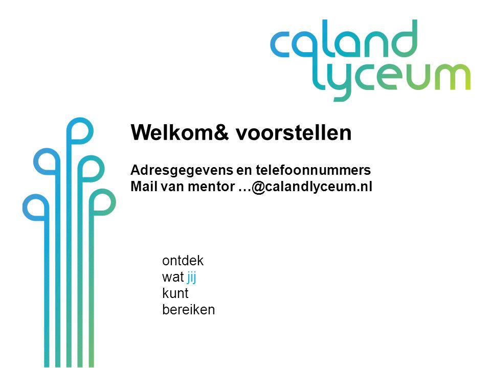 PTA Niet nieuw; programma en examenreglement Op it's learning, site, app en Mijn Caland Alles moet zijn afgerond Zak-/slaagregeling.