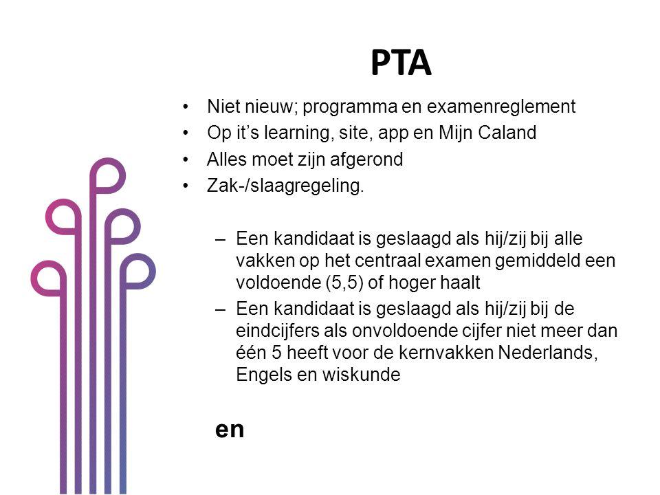 PTA Niet nieuw; programma en examenreglement Op it's learning, site, app en Mijn Caland Alles moet zijn afgerond Zak-/slaagregeling. –Een kandidaat is