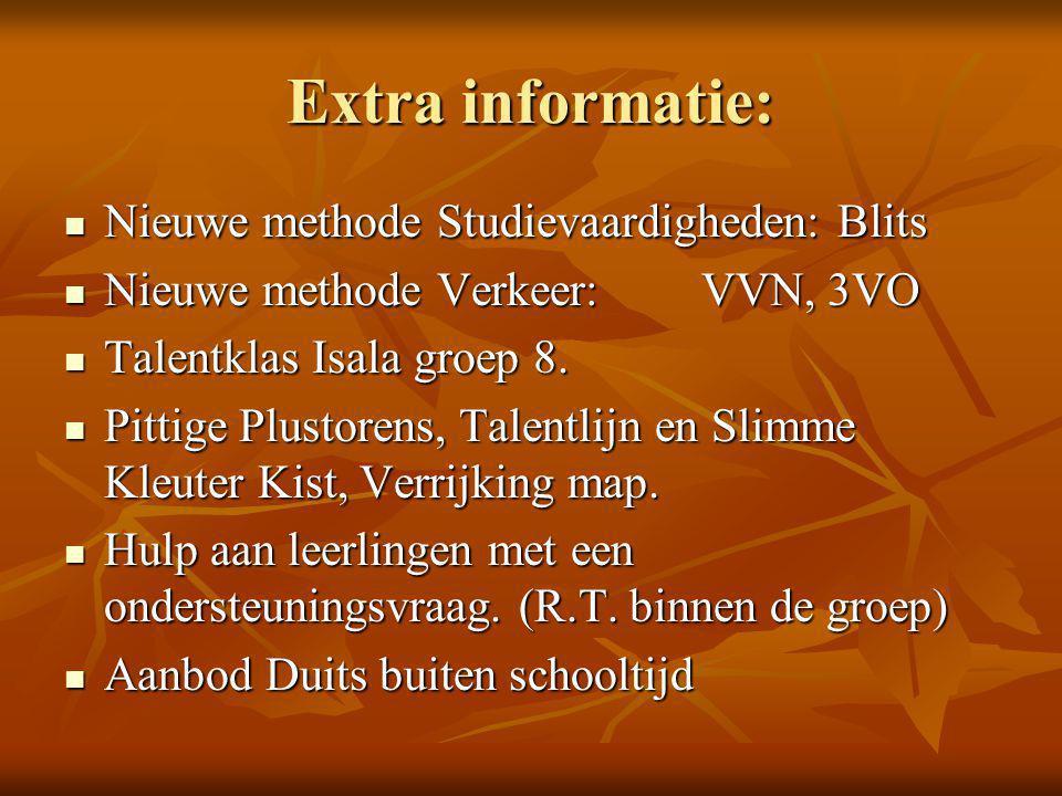 Extra informatie: Nieuwe methode Studievaardigheden: Blits Nieuwe methode Studievaardigheden: Blits Nieuwe methode Verkeer:VVN, 3VO Nieuwe methode Verkeer:VVN, 3VO Talentklas Isala groep 8.