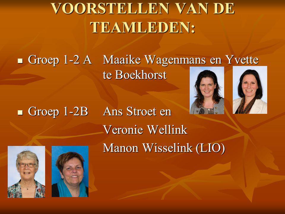 VOORSTELLEN VAN DE TEAMLEDEN: Groep 1-2 AMaaike Wagenmans en Yvette te Boekhorst Groep 1-2 AMaaike Wagenmans en Yvette te Boekhorst Groep 1-2BAns Stroet en Groep 1-2BAns Stroet en Veronie Wellink Manon Wisselink (LIO)