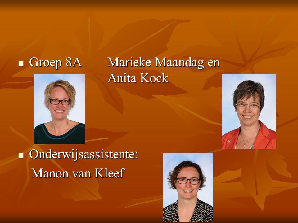 Groep 8AMarieke Maandag en Anita Kock Groep 8AMarieke Maandag en Anita Kock Onderwijsassistente: Onderwijsassistente: Manon van Kleef Manon van Kleef