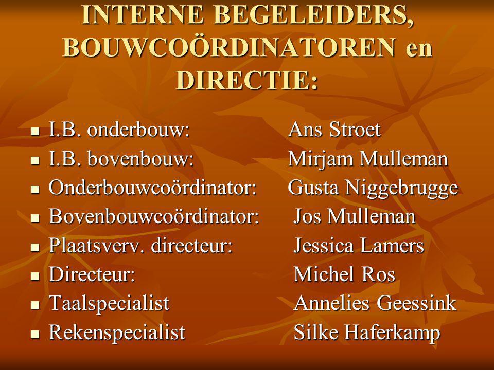INTERNE BEGELEIDERS, BOUWCOÖRDINATOREN en DIRECTIE: I.B.