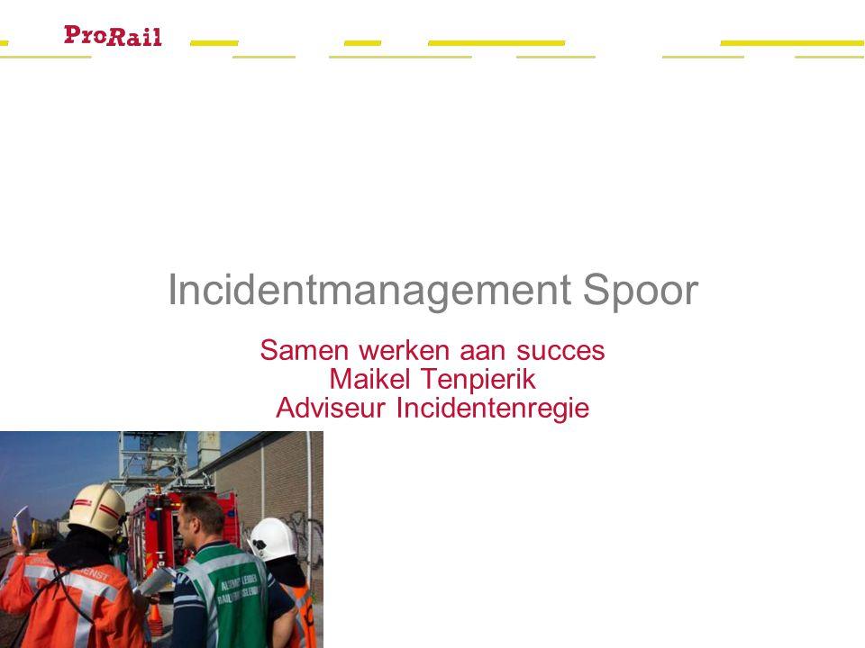 Hans Smits ProRail Operatie 22 november 2012 Incidentmanagement Spoor Samen werken aan succes Maikel Tenpierik Adviseur Incidentenregie