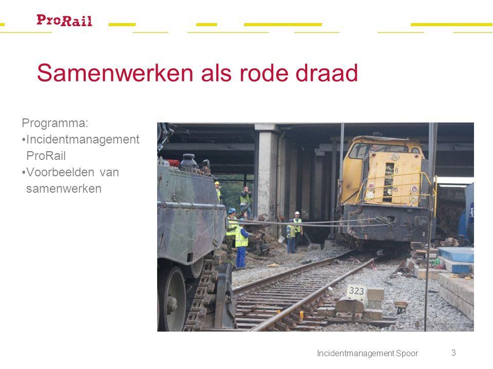 Samenwerken als rode draad Programma: Incidentmanagement ProRail Voorbeelden van samenwerken Incidentmanagement Spoor 3
