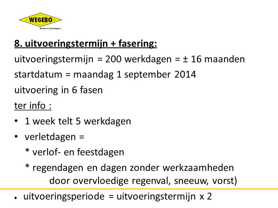 8. uitvoeringstermijn + fasering: uitvoeringstermijn = 200 werkdagen = ± 16 maanden startdatum = maandag 1 september 2014 uitvoering in 6 fasen ter in
