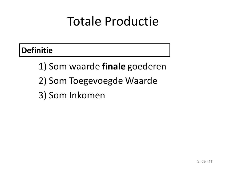 Totale Productie 1) Som waarde finale goederen 2) Som Toegevoegde Waarde 3) Som Inkomen Slide #11 Definitie BBP: Drie Benaderingen
