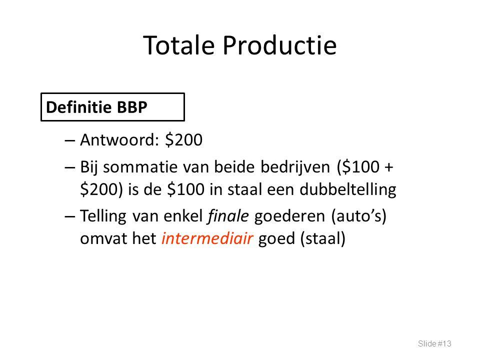 Totale Productie – Antwoord: $200 – Bij sommatie van beide bedrijven ($100 + $200) is de $100 in staal een dubbeltelling – Telling van enkel finale go
