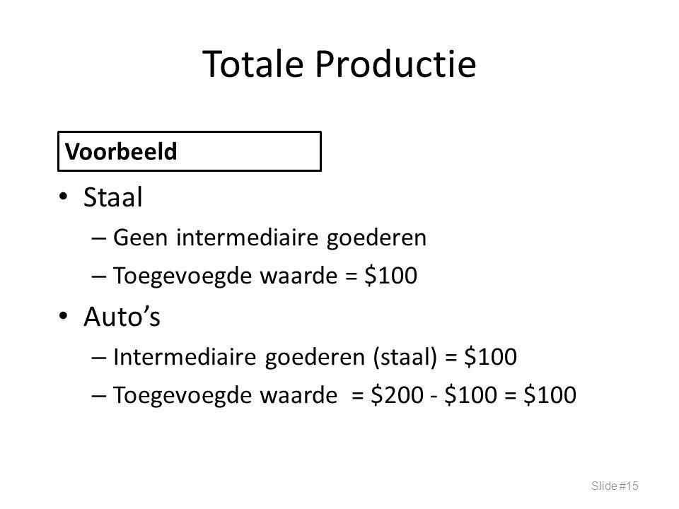 Totale Productie Staal – Geen intermediaire goederen – Toegevoegde waarde = $100 Auto's – Intermediaire goederen (staal) = $100 – Toegevoegde waarde =