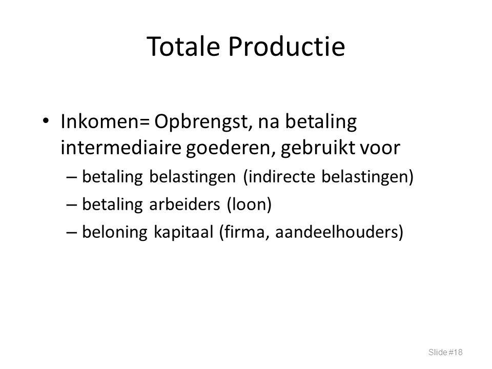 Totale Productie Inkomen= Opbrengst, na betaling intermediaire goederen, gebruikt voor – betaling belastingen (indirecte belastingen) – betaling arbei
