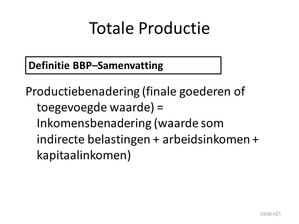 Totale Productie Productiebenadering (finale goederen of toegevoegde waarde) = Inkomensbenadering (waarde som indirecte belastingen + arbeidsinkomen +