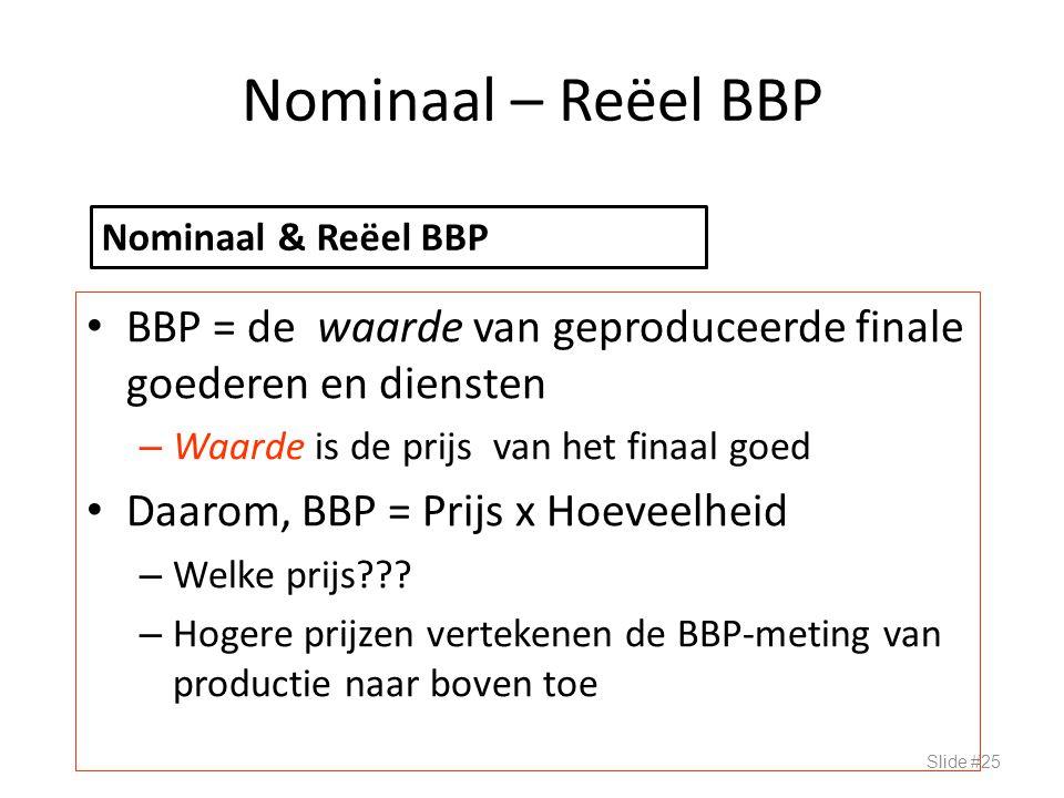 Nominaal – Reëel BBP BBP = de waarde van geproduceerde finale goederen en diensten – Waarde is de prijs van het finaal goed Daarom, BBP = Prijs x Hoev