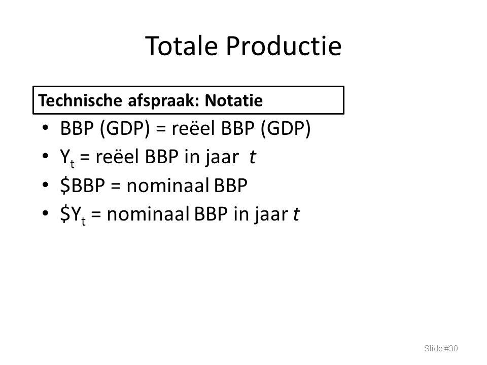 Totale Productie BBP (GDP) = reëel BBP (GDP) Y t = reëel BBP in jaar t $BBP = nominaal BBP $Y t = nominaal BBP in jaar t Slide #30 Technische afspraak