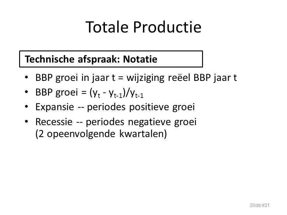 Totale Productie BBP groei in jaar t = wijziging reëel BBP jaar t BBP groei = (y t - y t-1 )/y t-1 Expansie -- periodes positieve groei Recessie -- pe