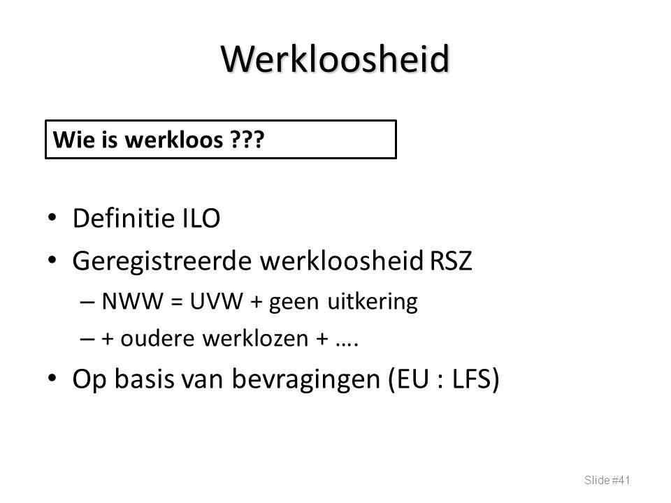 Werkloosheid Definitie ILO Geregistreerde werkloosheid RSZ – NWW = UVW + geen uitkering – + oudere werklozen + …. Op basis van bevragingen (EU : LFS)