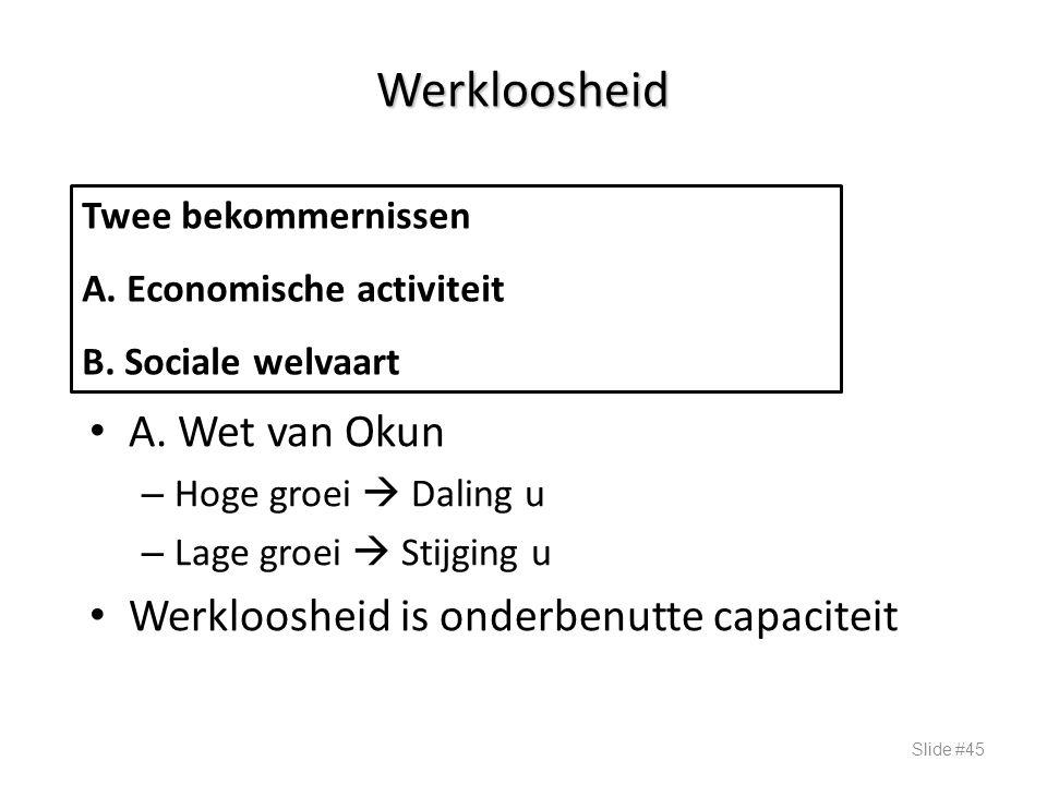 Werkloosheid A. Wet van Okun – Hoge groei  Daling u – Lage groei  Stijging u Werkloosheid is onderbenutte capaciteit Slide #45 Twee bekommernissen A