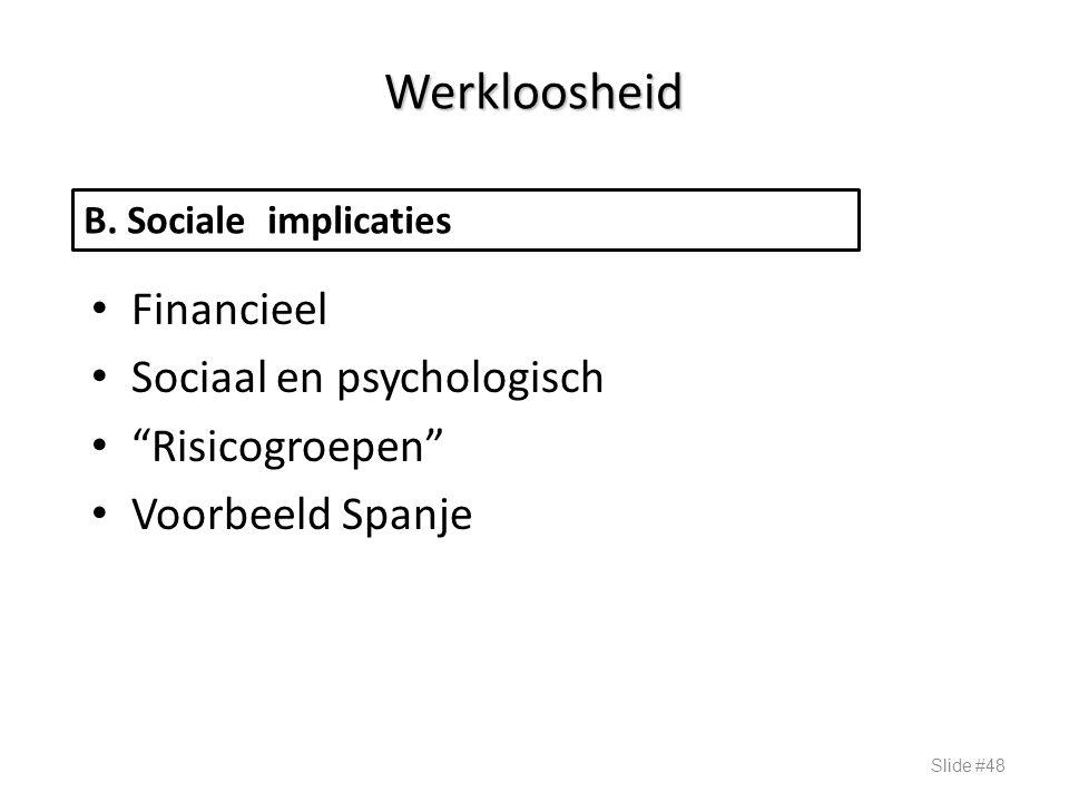 """Werkloosheid Financieel Sociaal en psychologisch """"Risicogroepen"""" Voorbeeld Spanje Slide #48 B. Sociale implicaties"""