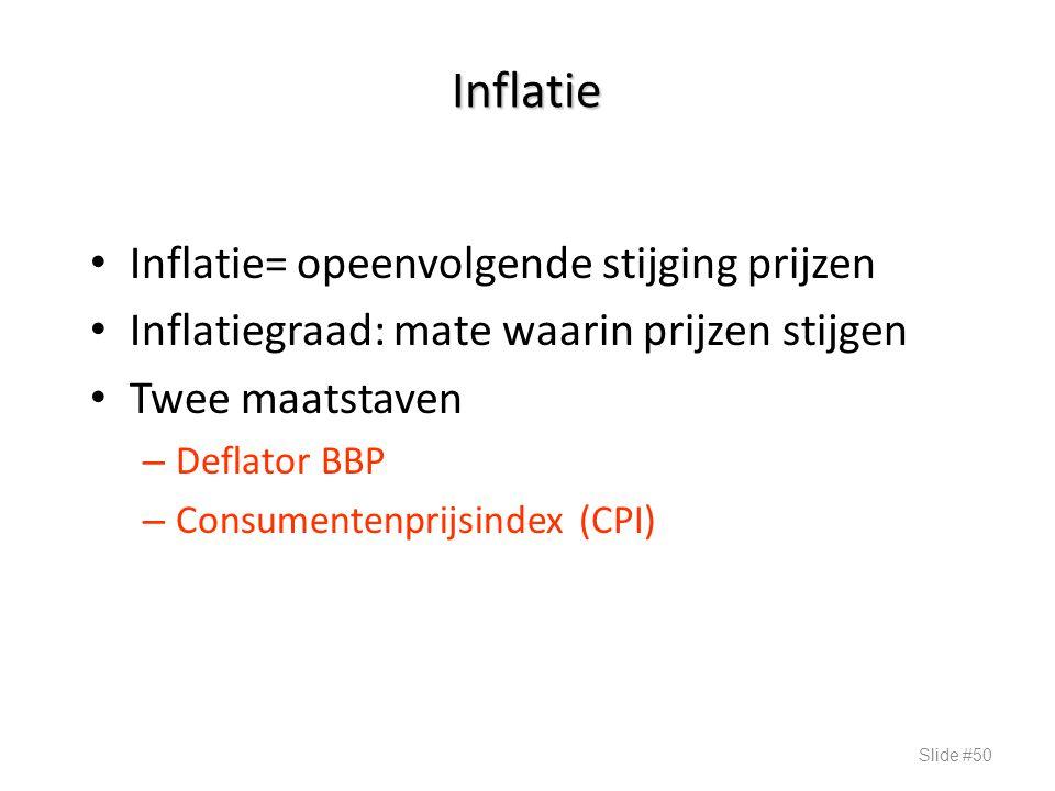 Inflatie Inflatie= opeenvolgende stijging prijzen Inflatiegraad: mate waarin prijzen stijgen Twee maatstaven – Deflator BBP – Consumentenprijsindex (C