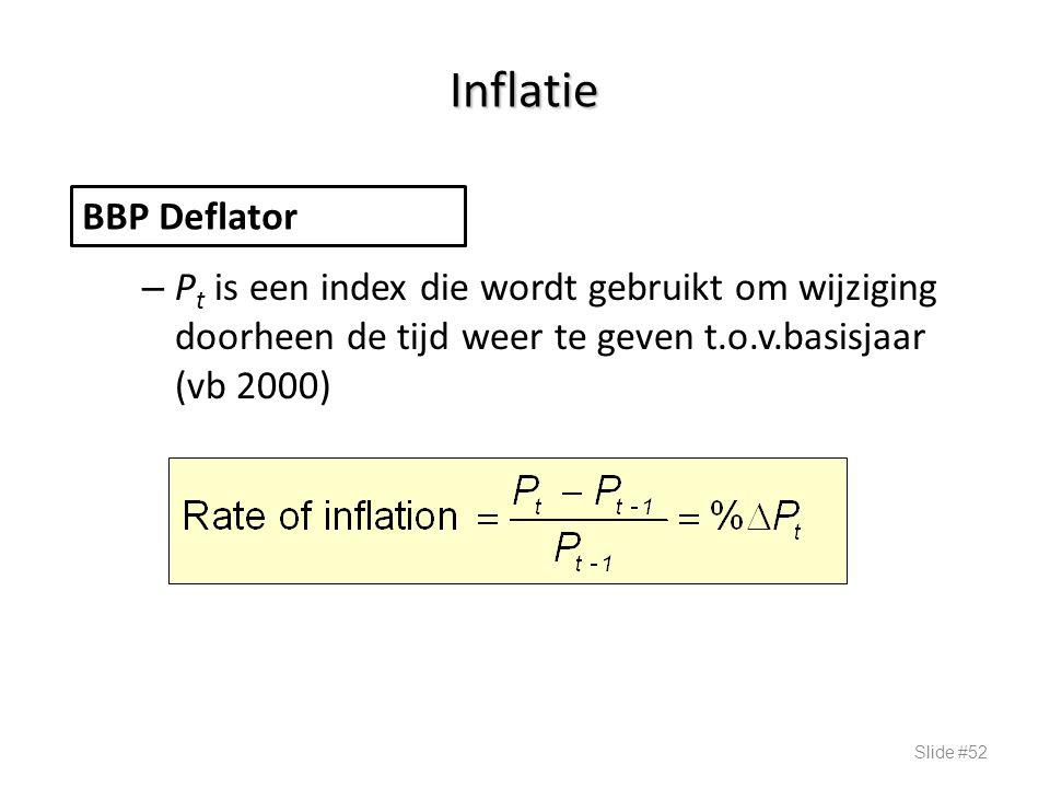 Inflatie – P t is een index die wordt gebruikt om wijziging doorheen de tijd weer te geven t.o.v.basisjaar (vb 2000) Slide #52 BBP Deflator