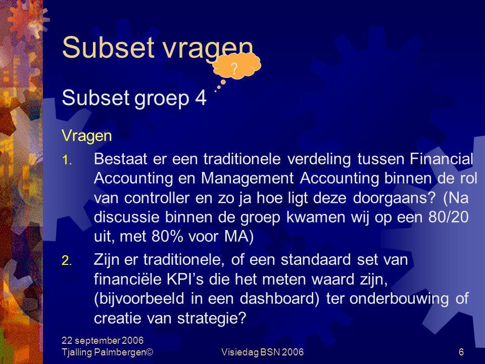 22 september 2006 Tjalling Palmbergen©Visiedag BSN 20065 Subset vragen Subset groep 3 Stellingen 1.